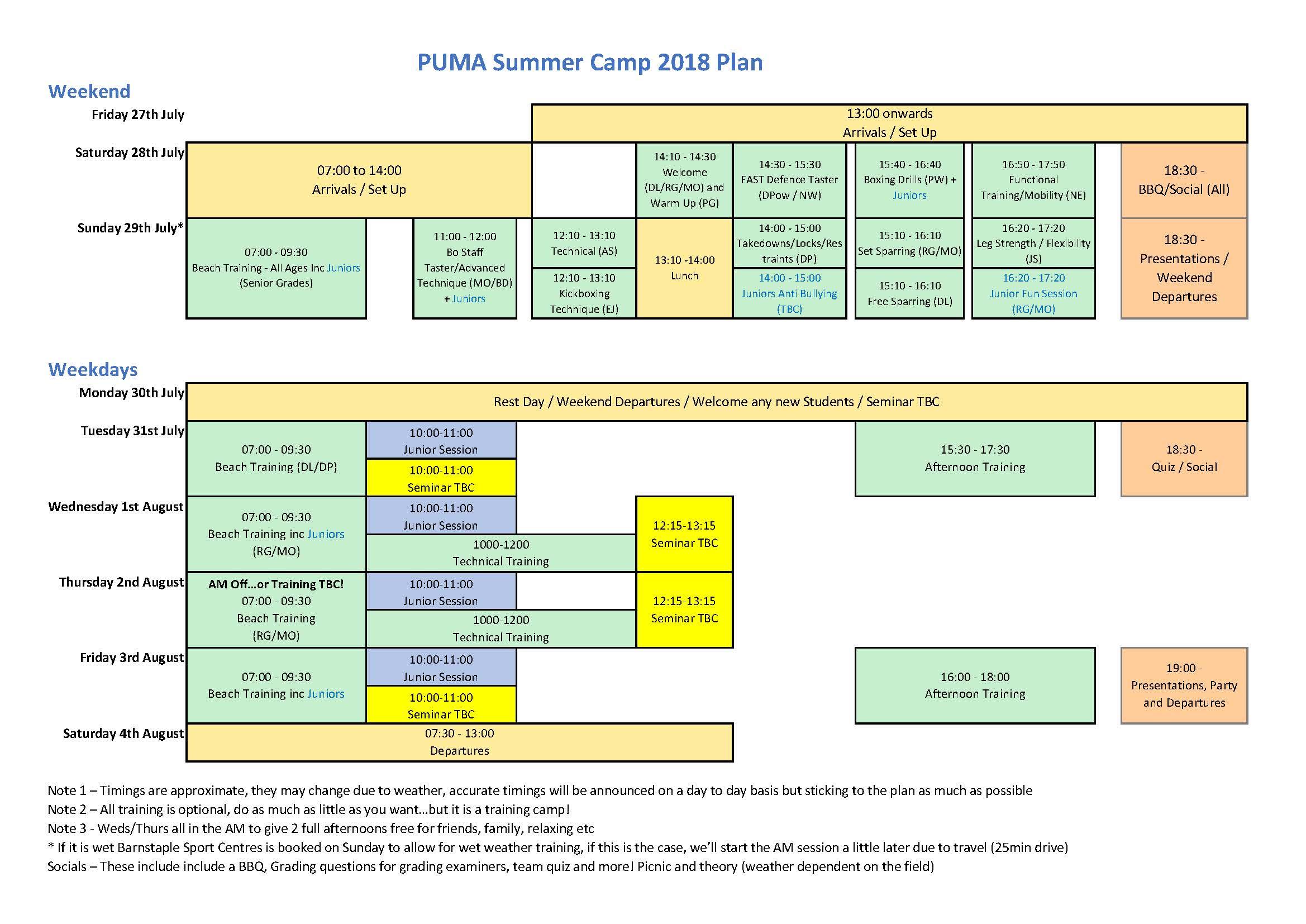 Summer Camp Schedule v2 2018
