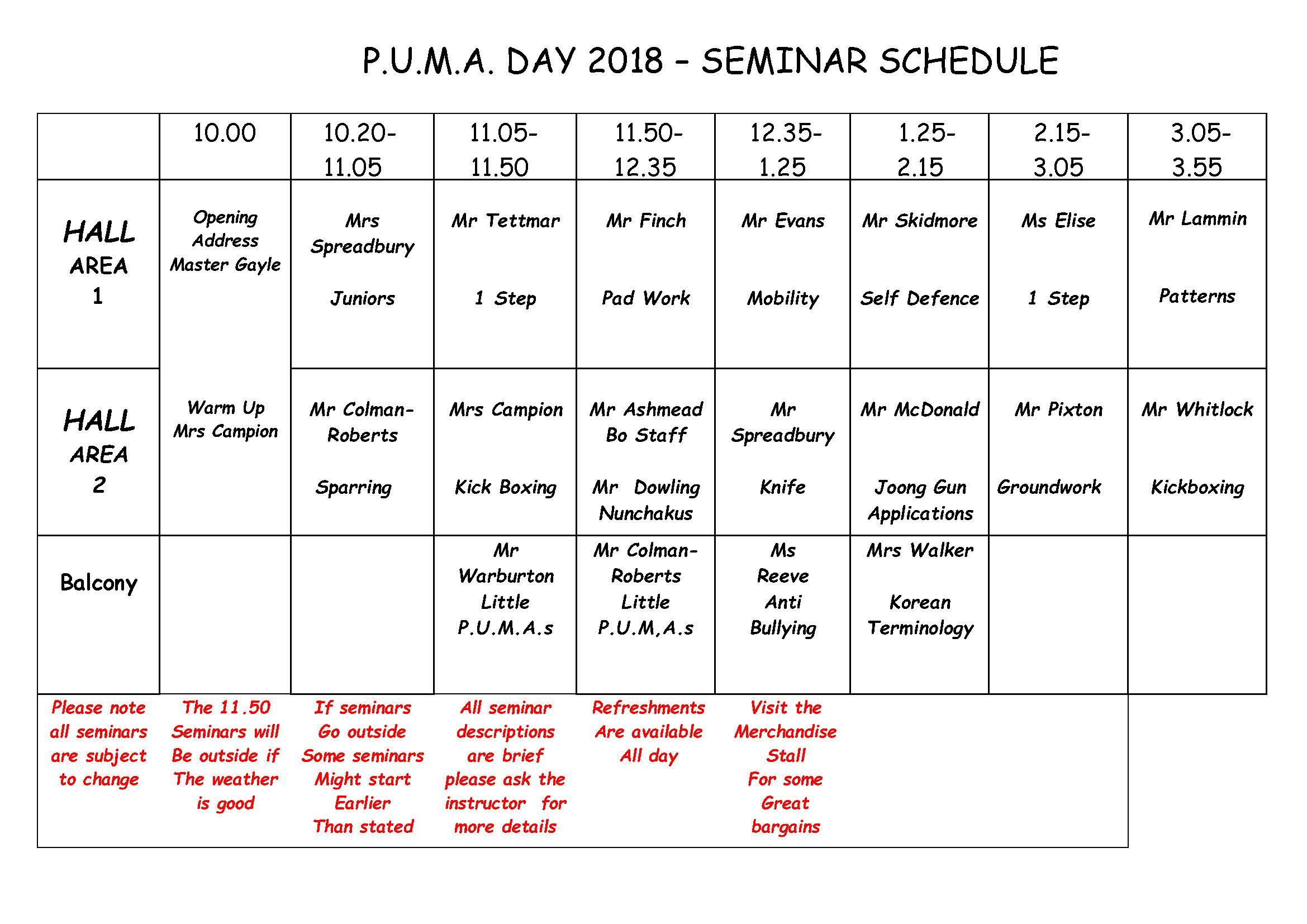 PUMA day schedule 2018