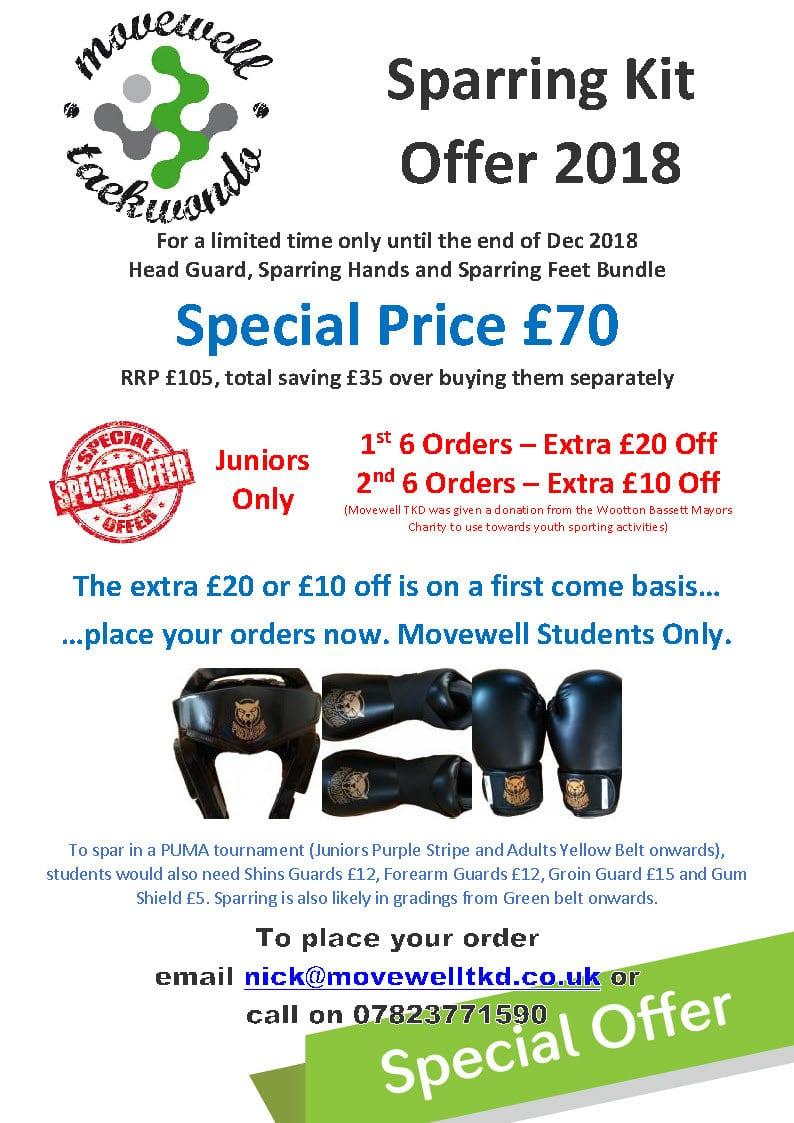 SPARRING KIT SPECIAL OFFER £70 2018 poster