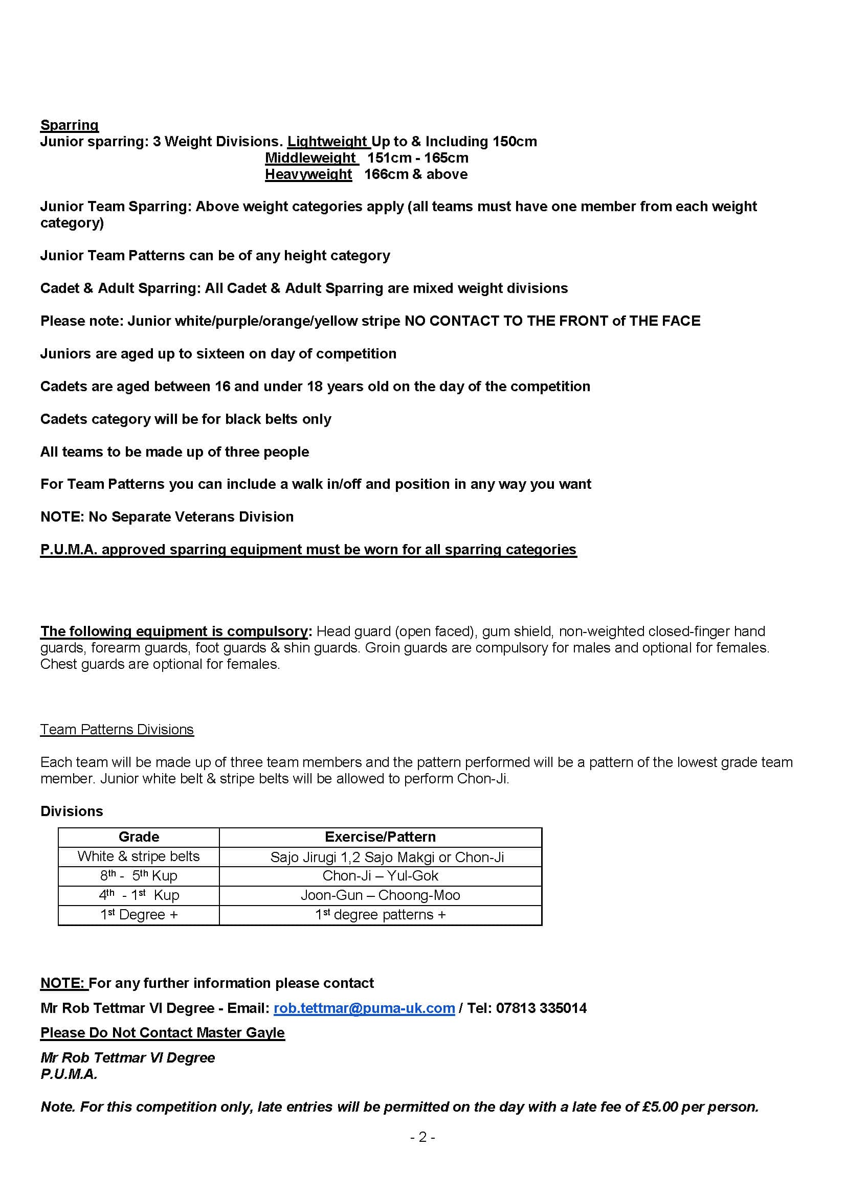 P.U.M.A. Point Stop Championships 2019 Rules Page 2