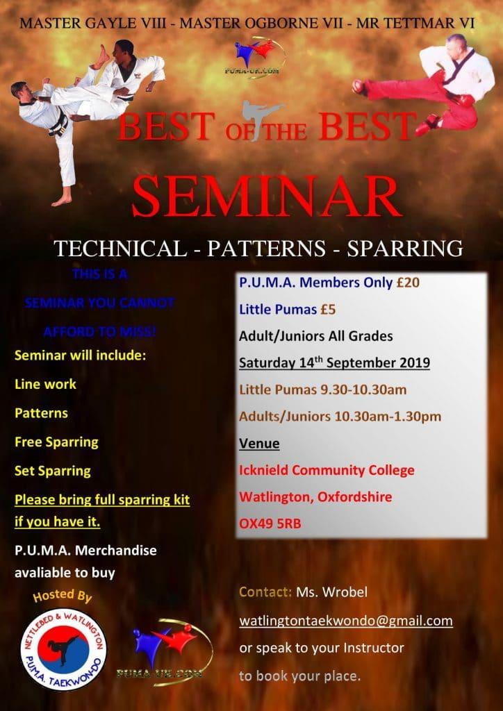 PUMA Masters Seminar with Master Gayle, Master Ogborne and Mr Tettmar – [Reminder]