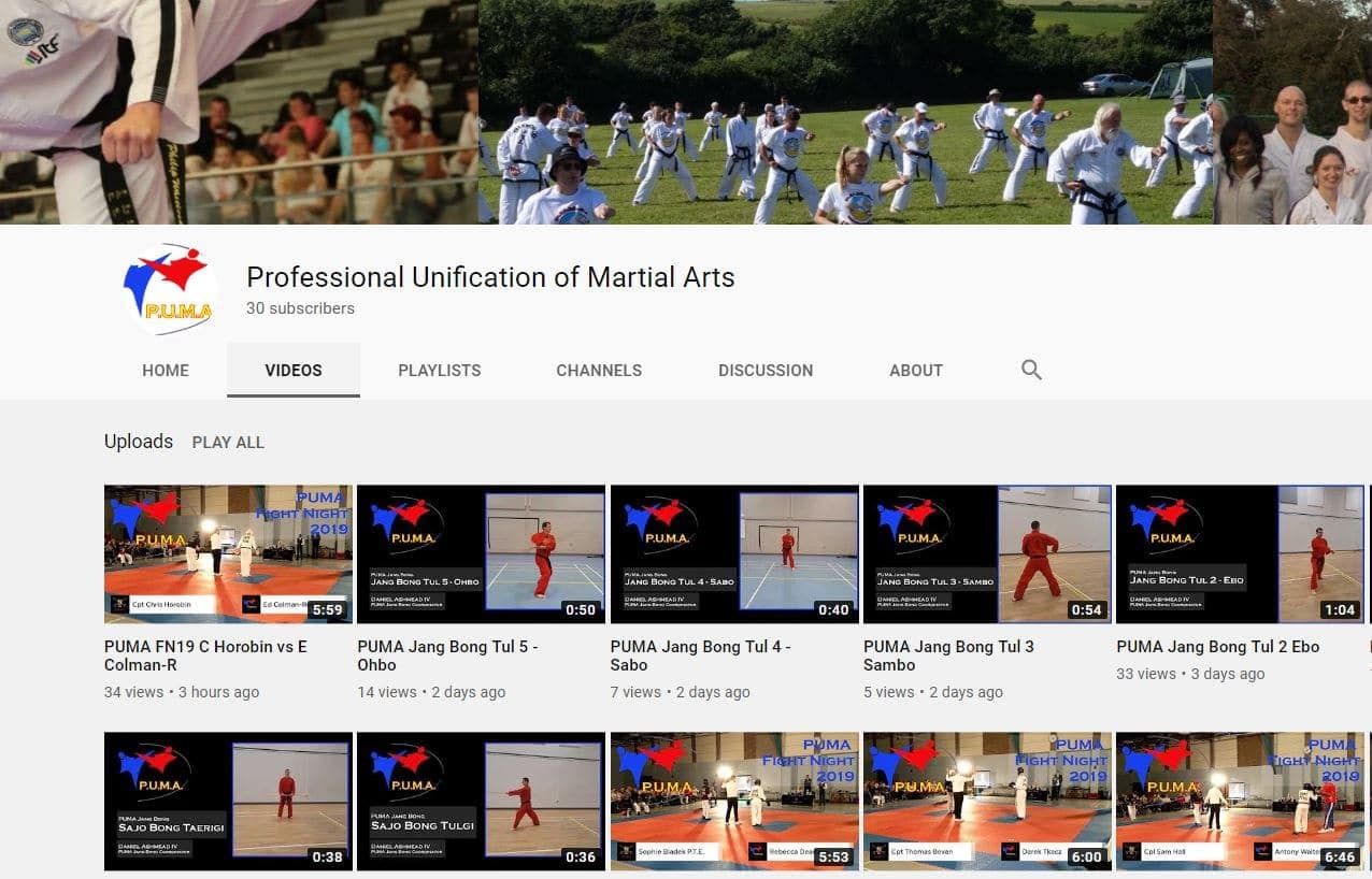 You Tube channel Martial arts video