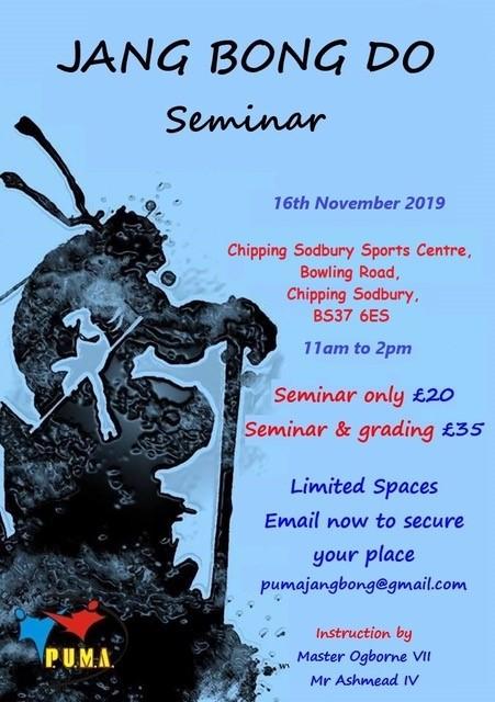 Jang Bong Do Seminar – Saturday 16th November [Reminder]