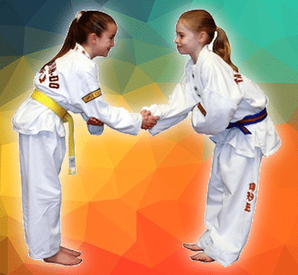 Taekwondo students bowing and shaking hands