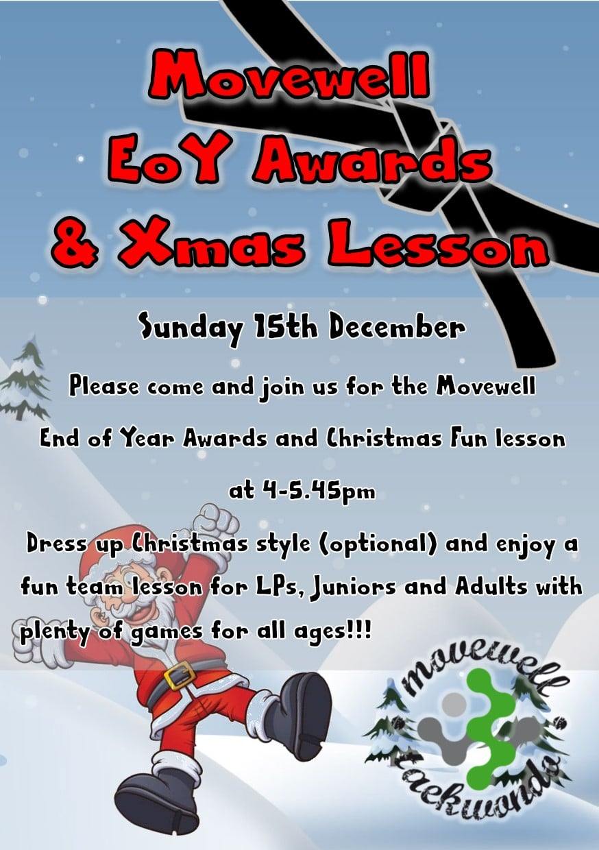 Movewell EOY Awards and xmas lesson poster