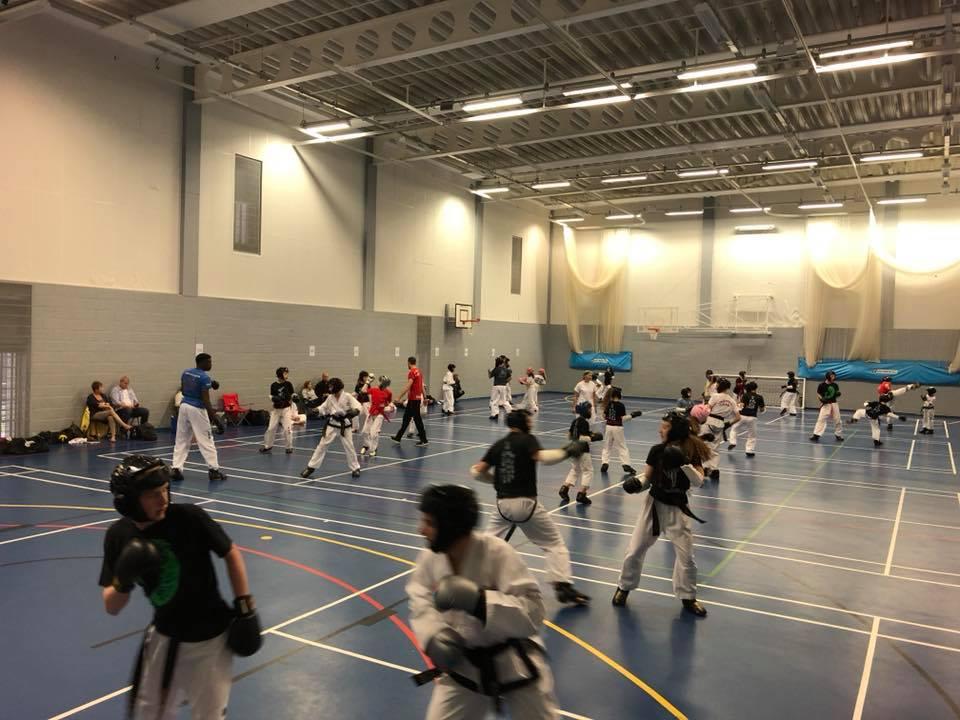 Taekwondo students training