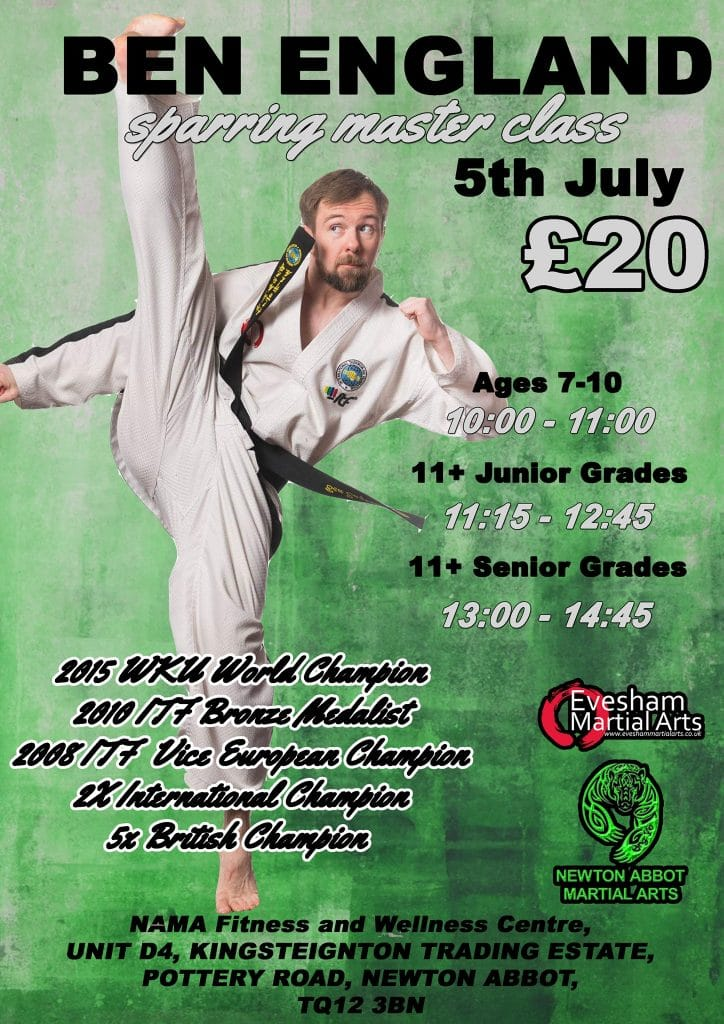 Ben England dressed in black belted Taekwondo outfit doing a high kick on Sparring Master Class poster