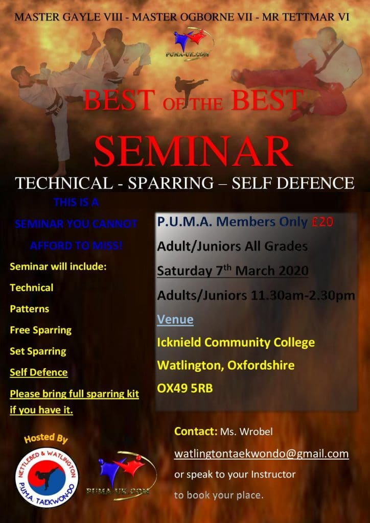 Best of the Best seminar poster - 7th March 2020