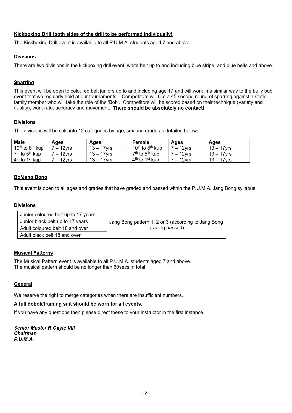 PUMA English championships information